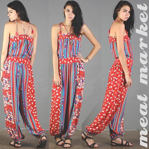 vtg DIANE FREIS boho JUMPSUIT striped GYPSY floral HAREM hippie FESTIVAL 80s S/M