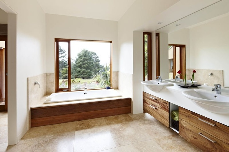 Ty and Haileys house on Grand Design Australia, Season 3.  Warburton Arch House  Extremely Sustainable House!   Such a gorgeous, warm bathroom