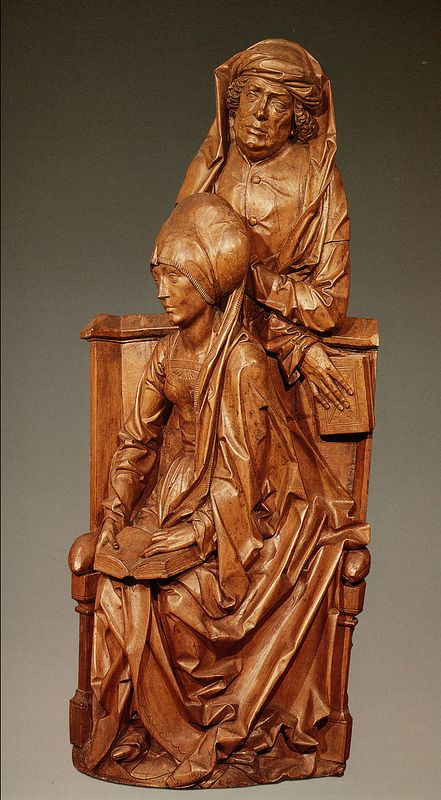 Tilman Riemenschneider, Holy kinship.altarpiece.Mary Salome and Zebedee.c.1505-1510.limewood.[V&A.London]