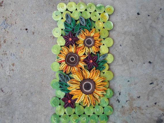 Parete girasole arte Quilling arte mista Home arredamento verde natura fiori carta arte 3D parete pensili cucina sala da pranzo