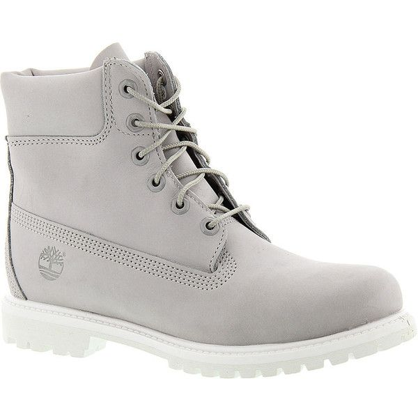 "Timberland Icon 6"" Premium Boot ($170) ❤ liked on Polyvore featuring shoes, boots, light grey, leather boots, timberland boots, real leather boots, water proof shoes and timberland footwear"