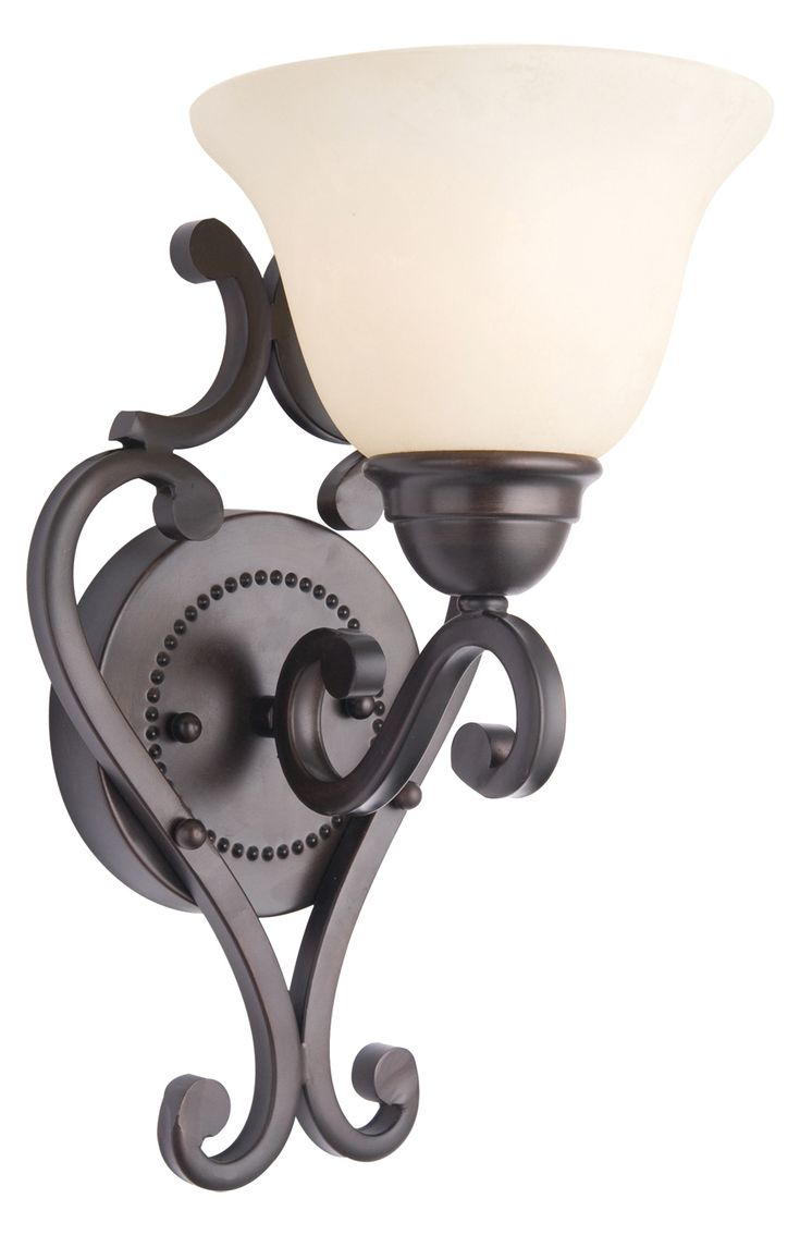 Maxim One Light Oil Rubbed Bronze Frosted Ivory Glass Wall Light Oil Rubbed Bronze 12211FIOI From Manor Collection