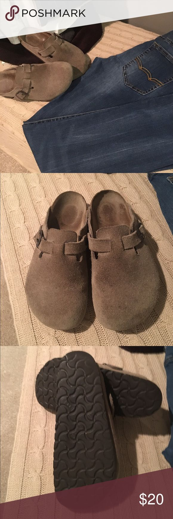 """Birkenstock Mules 💯 These  are in used condition. Size 6 taupe gray. Still life left in them. I thought I could wear them just to short. Measures 9.5"""" length 4.5"""" across top of foot width. I tried to photograph the spots on top not to bad but just not new condition. Very cute .. please ask any questions if interested. Price will reflect condition. Birkenstock Shoes Mules & Clogs"""