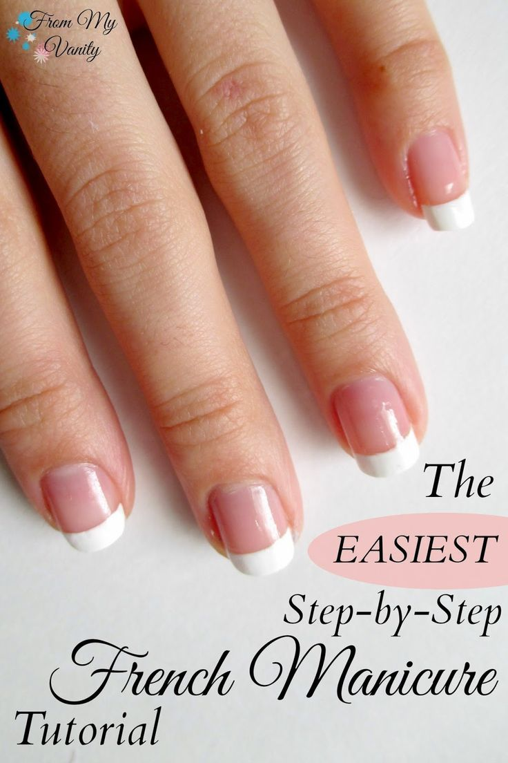 From My Vanity: Get a Professional-Looking French Manicure at Home in Minutes! (Nail Tutorial) Easy, step-by-step tutorial. (www.frommyvanity.com) @ladykaty92