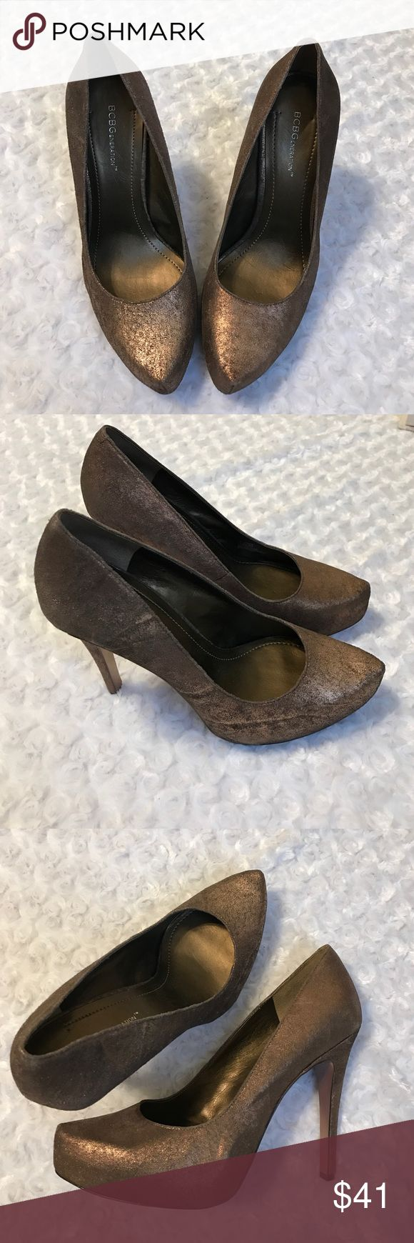 """BCBGeneration BRONZE ASH LEATHER HEELS STILETTOS GORGEOUS bronze shoes with an almond toe. Genuine leather. Has a slight shimmer to them and tones of grey. Party ready!! 5"""" heel 1.5"""" platform. -No trades. NWOT BCBGeneration Shoes"""
