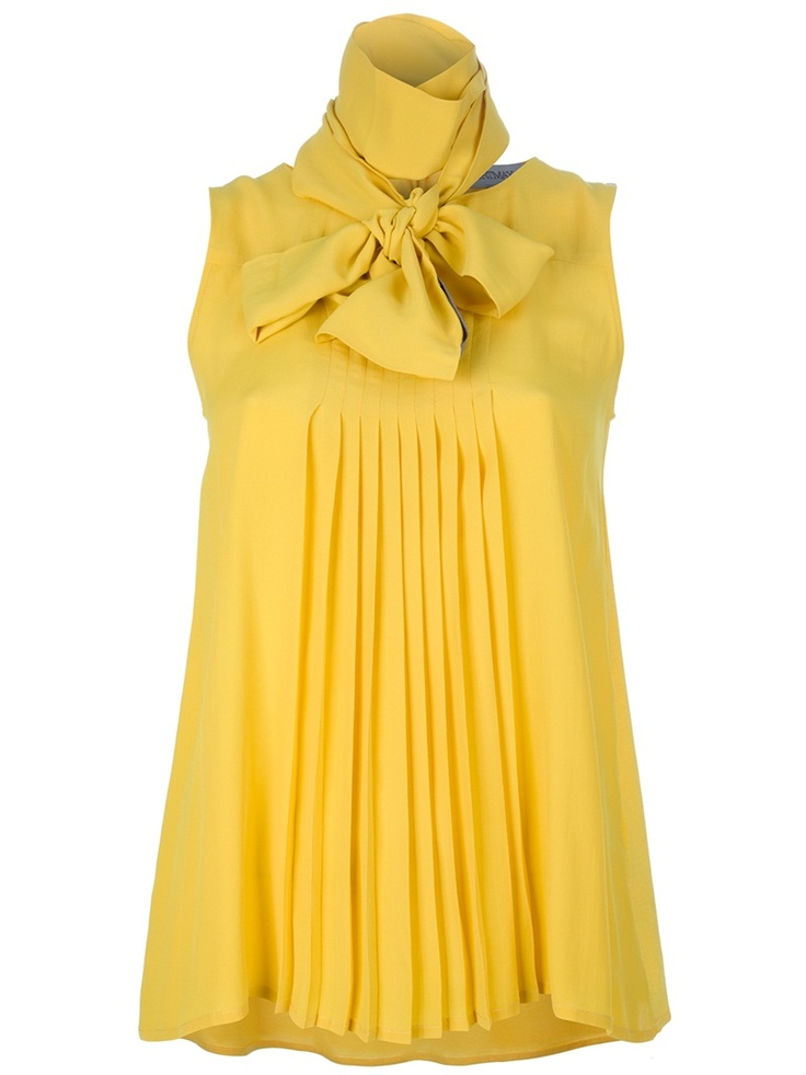 Yellow silk-cotton blend sleeveless blouse from Sportmax featuring a babydoll shape with central pleats, bow neck tie and a keyhole opening with ribbon trims to the back.