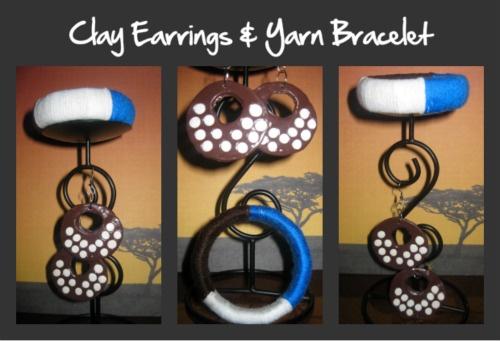 Handmade Clay Earring and Yarn threaded Bracelet.  Like, Share www.uniquic.com (Customized)