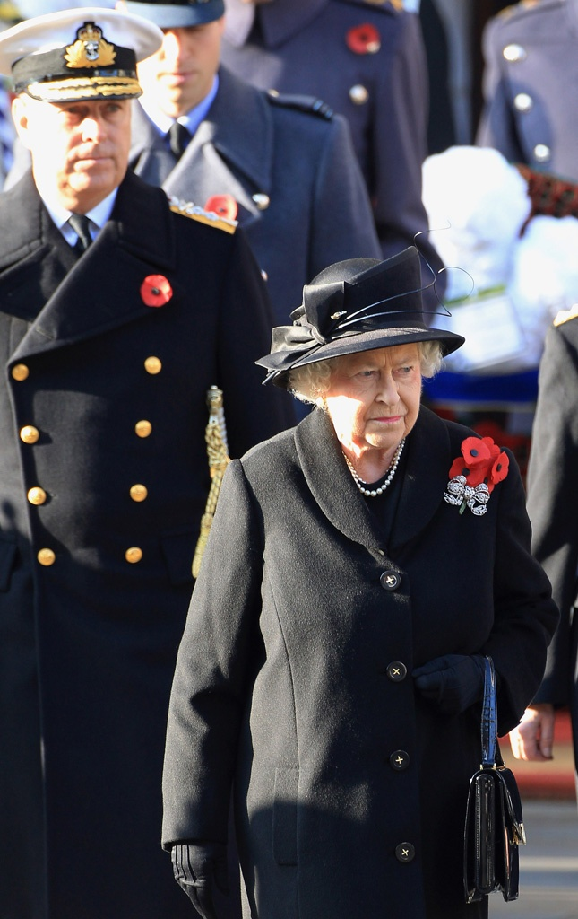 queen elizabeth II remembrance day ceremony cenotaph black jacket coat hat red poppies