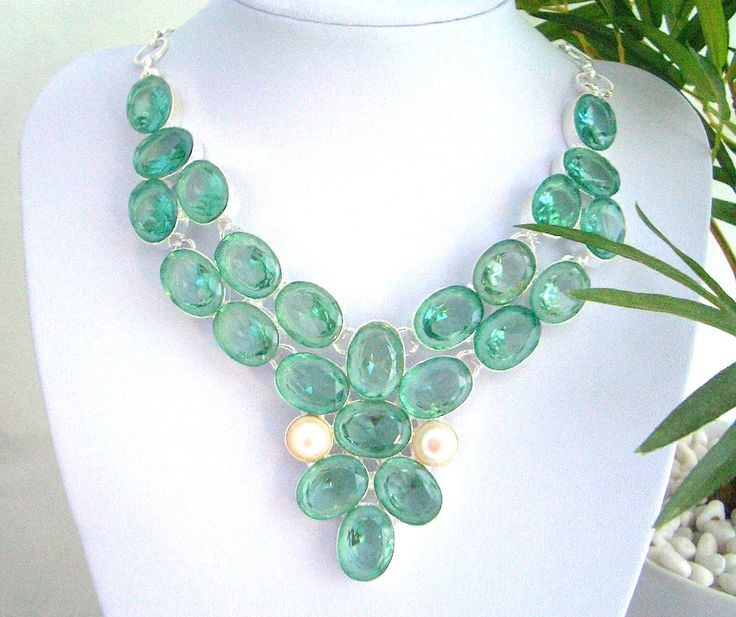 Silver, Absolutely Magnificent Aqua-Color with a tone of Green Crystals on Silver hand-made Dazzling Royal Statement Bib Necklace by Ameogem on Etsy