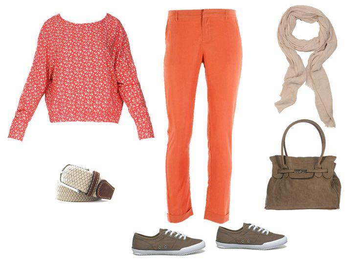 Décontracté : Pantalon See U Soon orange, Ceinture Billy Belt rouge et Tennis/basket TBS beige