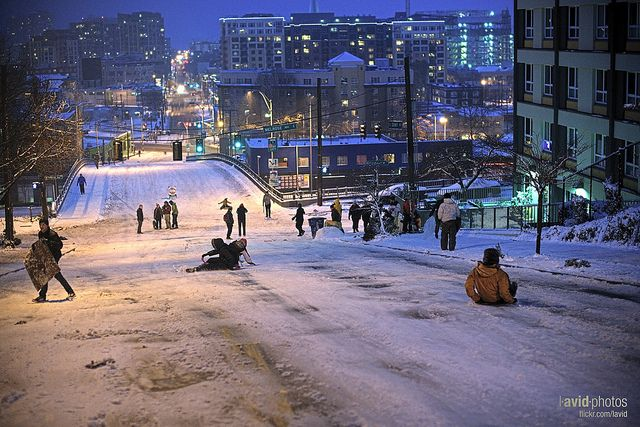 Capitol Hill Denny Sled Run at Bellevue Ave E & E Denny Way - Seattle on 2012-01-18 by laviddichterman on flickr