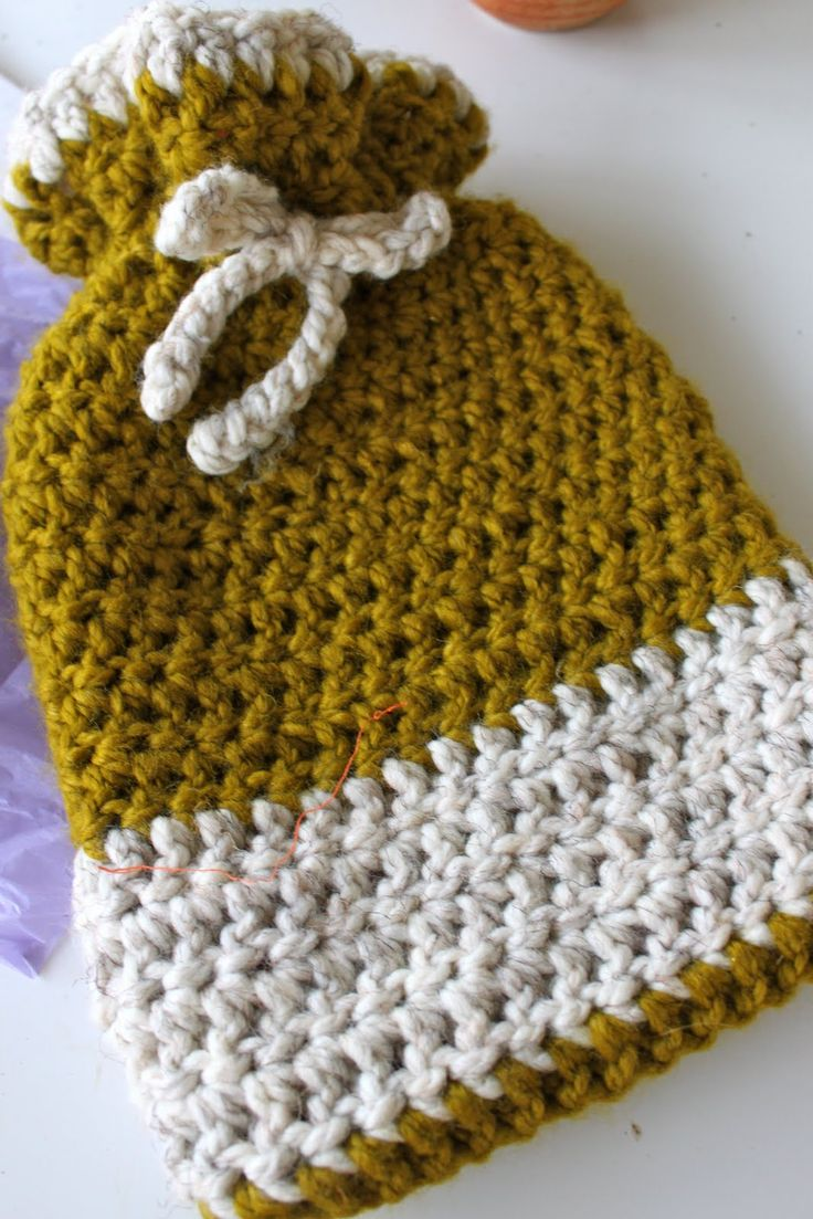 Crochet Hot Water Bottle Cozy or Gift Bag