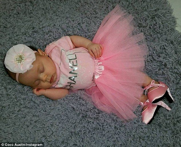 'Long day for my sleeping beauty!' Coco Austin shares picture of baby Chanel wearing HEELS and earrings