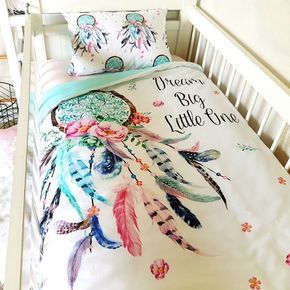 Cot Quilt ~ Dream Catcher cotton nursery linen baby bedding www.poppycotton.co.nz