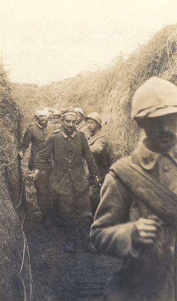 World War I Battle of the Somme German held prisoners at Vermandovillers In September 1916