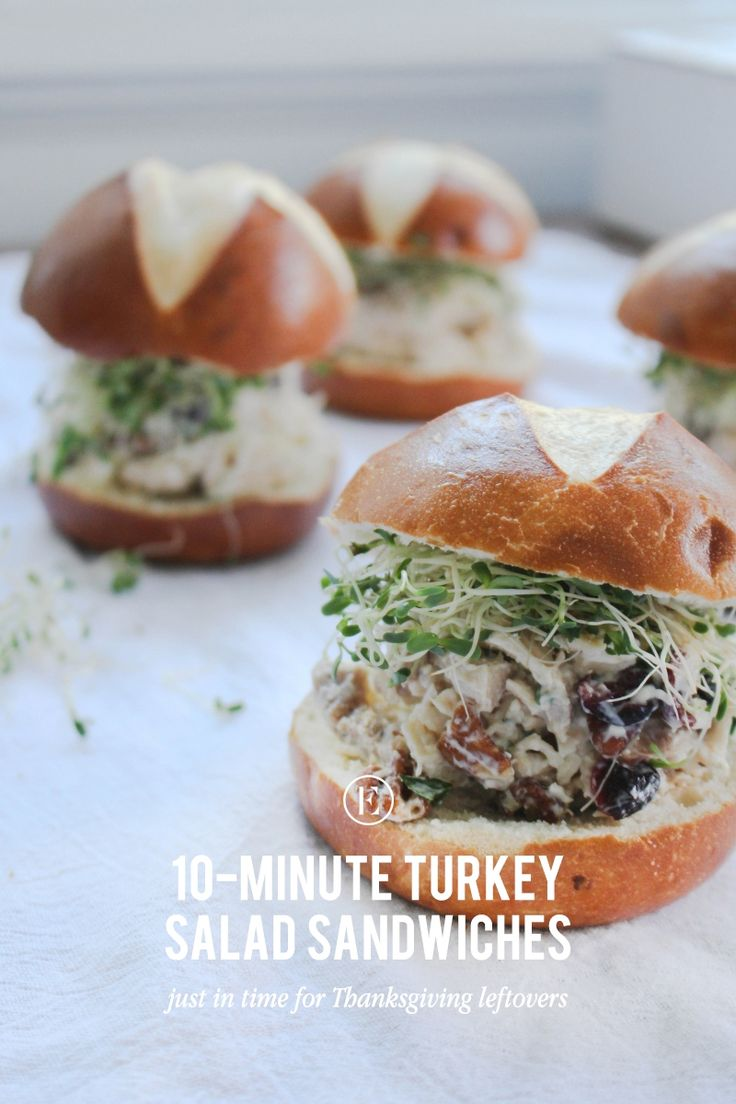 10-Minute Turkey Salad Sandwiches for Thanksgiving Leftovers #theeverygirl