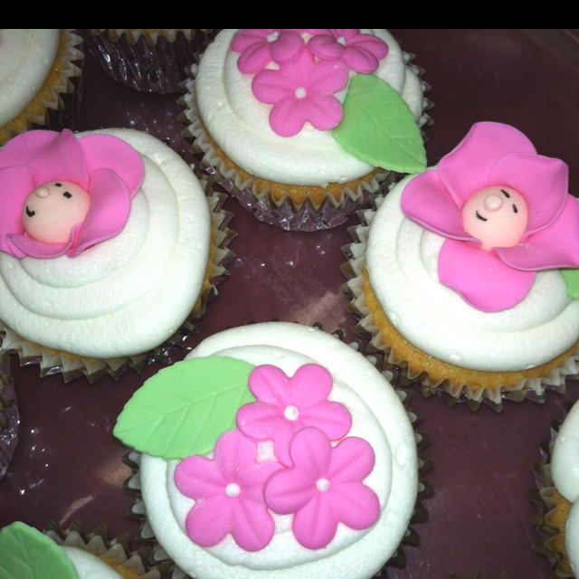 Baby girl shower cupcakes by Amory Musselwhite.  Piece'O Cake