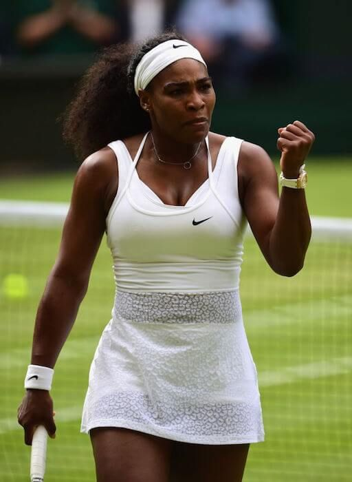 Serena Williams at the quarterfinal of Wimbledon Tournament 2015...