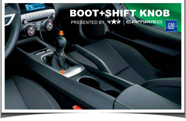 2010 2011 2012 Camaro Black/Green Shift Handle & Boot, 92247495