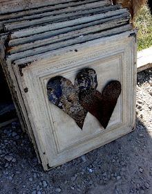 Salvaged Vintage Ceiling Tin Tiles - metal hearts attached to the tin tiles - via A Grace Full Life: Flea Market Sunday: Lots Of Fun, Loads O' Junk And Scads Of Great Tips