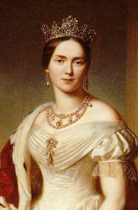 #wrttemberg #diamonds #pauline #therese #consort #william #wearing #diamond #queen #tiara #king #her #of #th #iQueen Pauline Therese, Queen consort of King William I, wearing her Diamond Tiara, Württemberg (19th c.; diamonds).