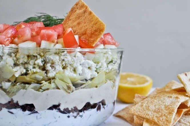 Seven Layer Crazy Greek Dip: Recipe, Greek Dip, Layer Crazy, Food, Crazy Greek, Layer Greek, Dips, Layered Greek