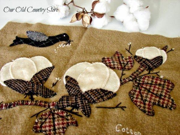 Free cotton pickin wool folk art applique pattern working with