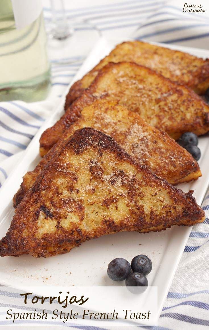 Leave it to the Spanish to think of using wine to soak their French Toast! Torrijas are a traditional Lent and Easter treat made from soaked bread that is deep fried and served with cinnamon sugar or honey. You'll want to give this version of French Toast a try!   www.CuriousCuisiniere.com