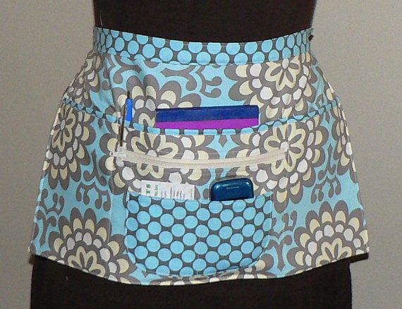 Craft Utility Vendor Zipper Apron- 6 Pocket - Wall Flower Sky       I make 5 different styles of pocket aprons in many color combinations. See them all here: http://www.etsy.com/shop/LauriesGiftsBiz?section_id=8020936    $30.00