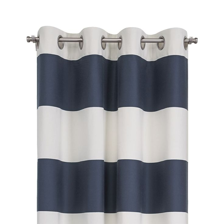 """Alston 50""""x96"""" Ivory/Blue Striped Curtain Panel - Crate and Barrel"""