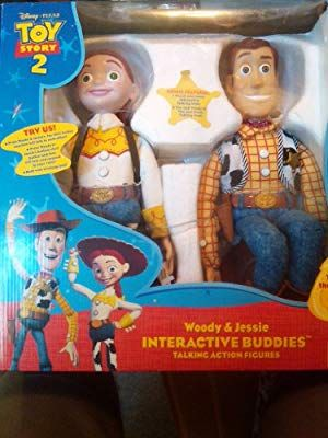 Amazon.com  Toy Story 2 Disney Pixar Woody and Jessie Interactive Buddies.  Talking Action Figures. Together they say over 100 phrases.  Toys   Games c8b89f6af1d