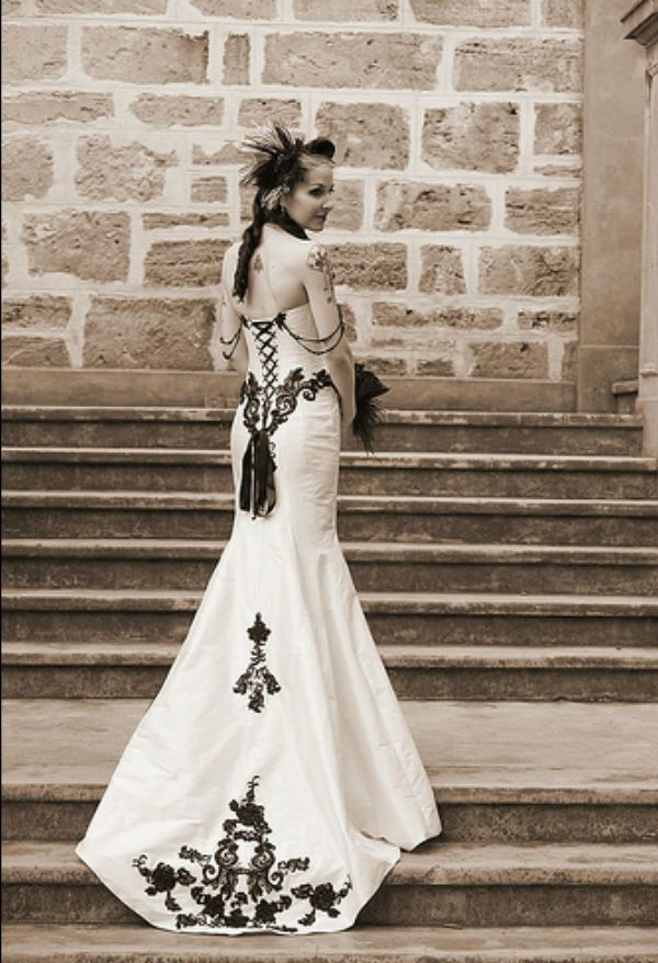 Incredible victorian gothic mermaid style corset wedding for Victorian corset wedding dresses