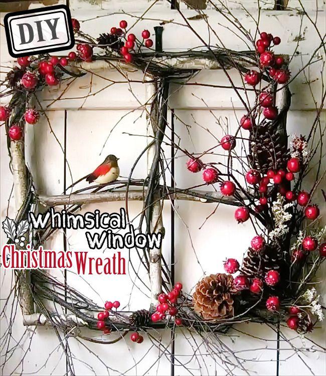 DIY Whimsical Window Christmas Wreath u2013 Top