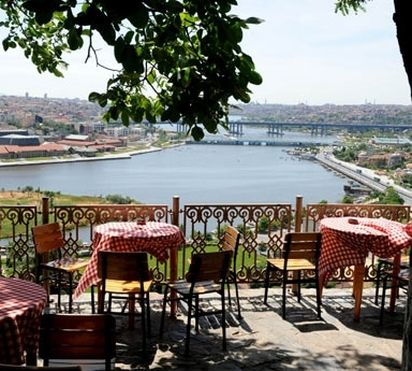 Very famous teahouse called 'Pierre Loti teahouse' overlooking Golden Horn in Istanbul, Turkey.