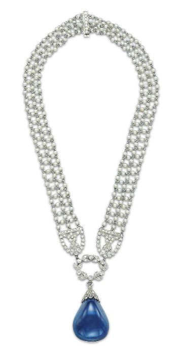 A Belle Epoque Sapphire, Pearl and Diamond Necklace