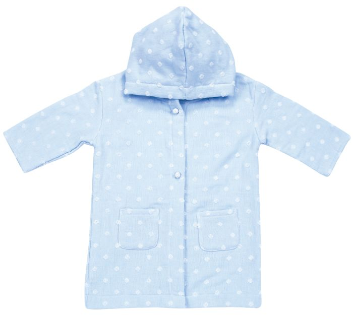 This Robe is made from our unique Muslin & Terry woven fabric. It has the softness and absorbency of muslin in addition to the fluffiness and elegance of terry all in one. It fits toddlers ranging from 3-5 years and is ideal for after pool, bath and beach time. The front is fastened with two snaps for easy on and off, a hood for extra protection and two front pockets perfect for little hands. This robe is perfect for monogramming.