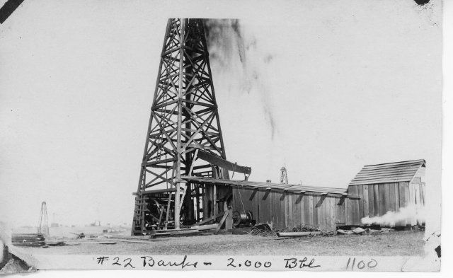 H. F. Wilcox Oil & Gas Company well. Banks Farm #22. Initial flow 2,000 bbl.