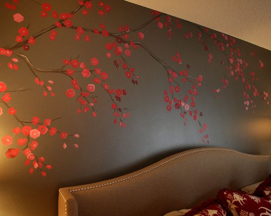 Beautiful Cherry Blossom Wall Mural: Cherry Blossom Mural And Cherry Almond Japanese Garden Affect At Eclectic Bedroom ~ arkoop.com Bedroom Inspiration