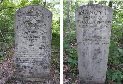 graves of Frank Phillips and his wife, Nancy (Johnse Hatfield's ex and cousin to Roseanna McCoy).