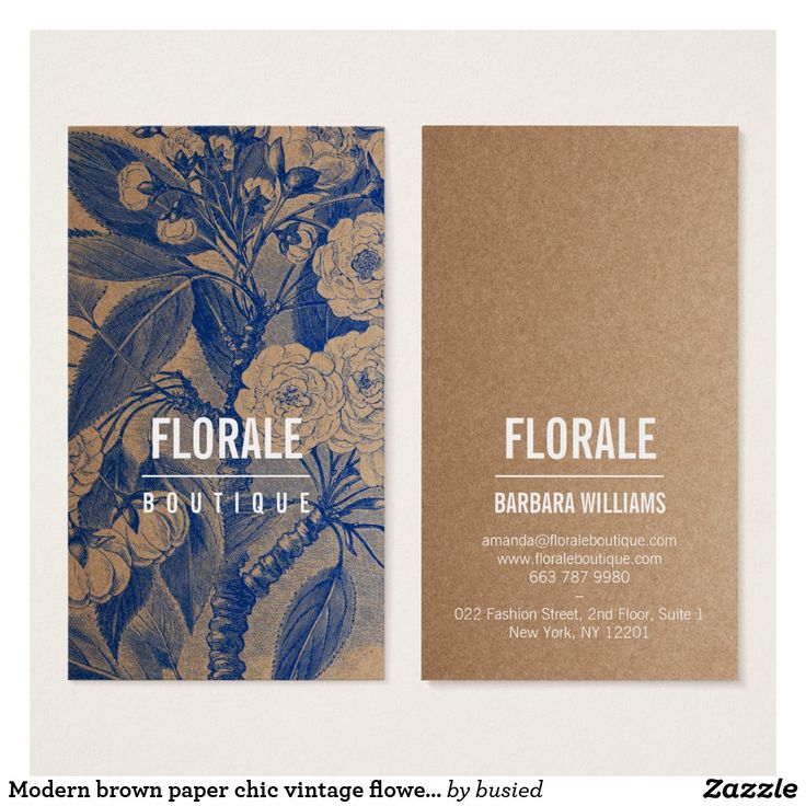 41 best art business cards images on pinterest modern brown paper chic vintage flowers blue paint business card reheart Gallery