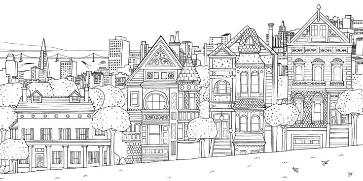 Free coloring page «coloring-san-franscico-houses».
