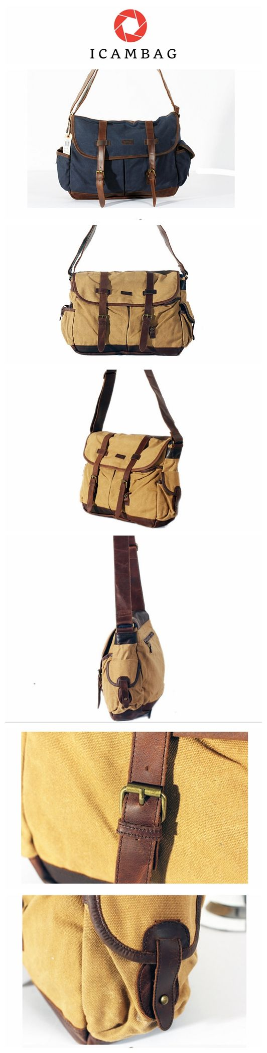 Canvas bag with head layer mad cow leather casual male body bag  FAC4