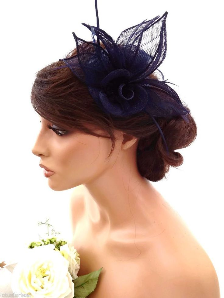 Elegant Navy Blue Rose Design Hair Clip Grip Fascinator Hat with Feathers Races