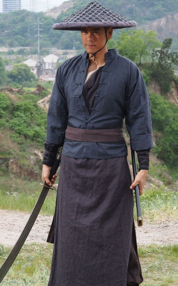 Chinese Ancient Swords Men Kung Fu Costumes And Bamboo Hat Bamboo Hats Farmer Outfit Larp Costume