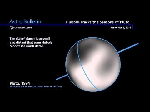 "Pluto. It's tilted so much on its axis that it orbits on its side. This means that it has very extreme seasons. At the solstices one whole hemisphere points towards the Sun for tens of years and the other points away. ©Mona Evans, ""Pluto Facts for Kids"" http://www.bellaonline.com/articles/art40363.asp"