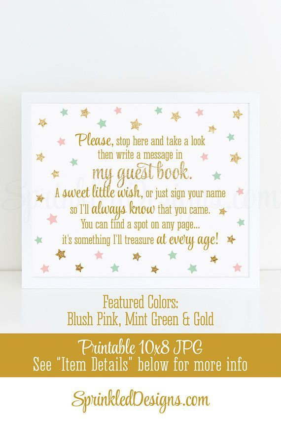 Baby Shower Guest Book Sign - Twinkle Twinkle Little Star Party Printables, Girl Birthday Party Sign, Blush Pink Mint Green Gold Glitterr - Printable Birthday Party Welcome Sign - Instant Download - 10X8 ★ RE-COLOR/RE-SIZE: https://www.etsy.com/listing/235764069/ ★ PRINTING: