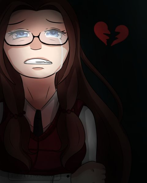 {StripeyStockings}  ---  quick doodle of emiko my yandere girl -- #yandere #creepy #character design #girl #anime #brunette #Yanderegirl #brokenheart ---  Find me also on: http://stripeystockings.deviantart.com/