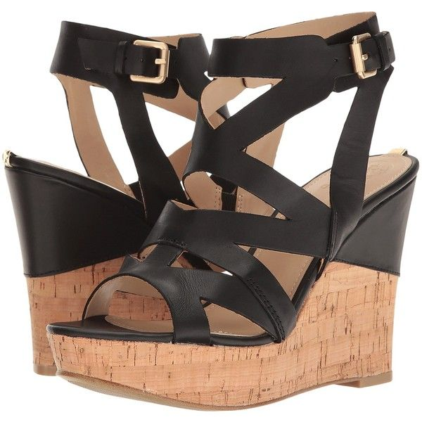 GUESS Hannele (Black) Women's Wedge Shoes ($50) ❤ liked on Polyvore  featuring