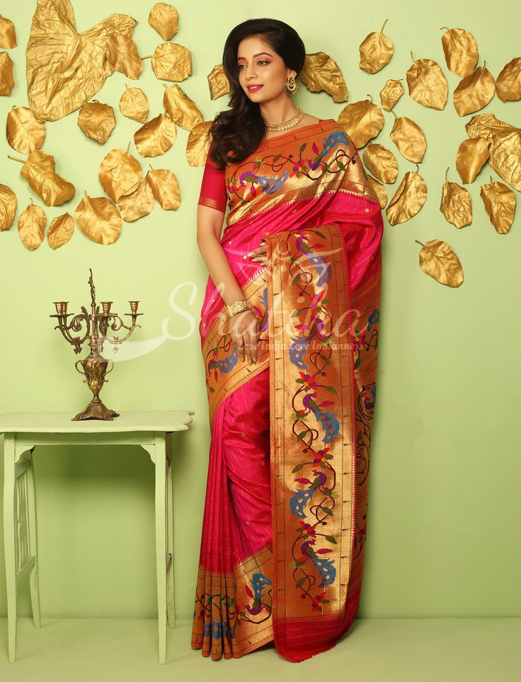 Tarabai Gulabi Bel Peacocks Paper Gold Border Palluimperial Real Zari Double Turning Paithani Silk Saree