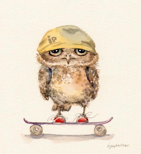 skateboarding owl by Inga Paltser